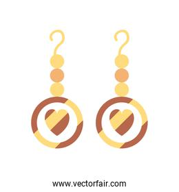 Isolated hearts earrings fill style icon vector design