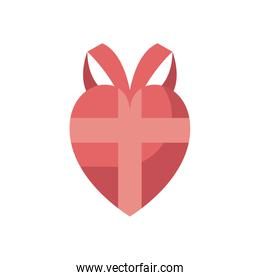 heart gift fill style icon vector design