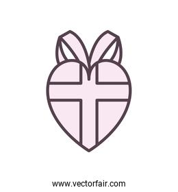 heart gift line style icon vector design