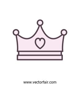 Isolated crown with heart line style icon vector design