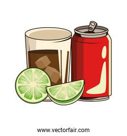 soda can and glass with lemons, flat design