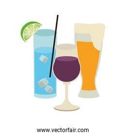beer glass and cocktails glasses icon