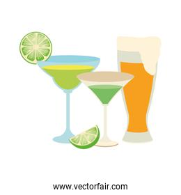 martini cocktails and beer glass icon