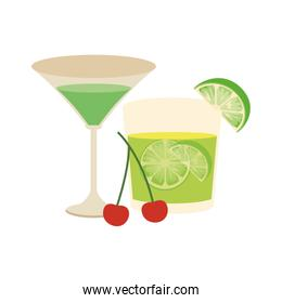 martini cocktail and lemon cocktail icon