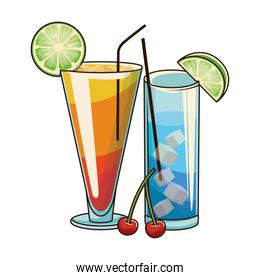 sunrise cocktail and blue cocktail icon, colorful design