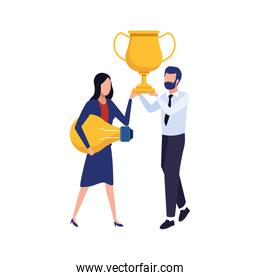 avatar business man holding a trophy and woman holding a light bulb