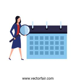 planner calendar with business woman holding a magnifying glass