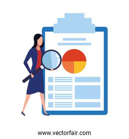 avatar businesswoman with big clipboard with document with   chart