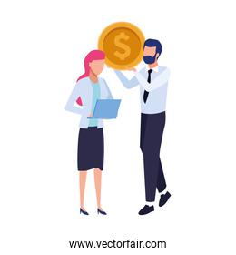 avatar business man holding a money coin and woman with laptop computer