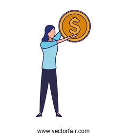 avatar business woman holding a money coin icon