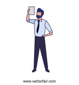 avatar businessman with document page