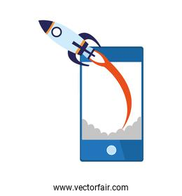 rocket and smartphone device icon, colorful design