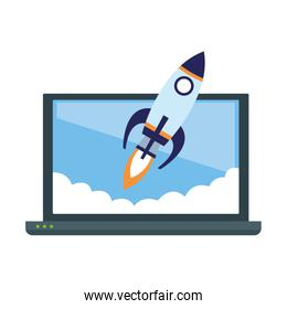 laptop computer and rocket icon, colorful design