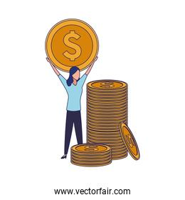 isolated stack of coins and avatar business woman holding a money coin