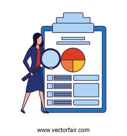 avatar businesswoman with big clipboard with document with graphic chart