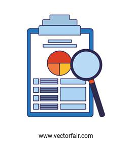 magnifying glass and clipboard with document with graphic charts