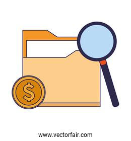 money coin and magnifying glass and document folder icon