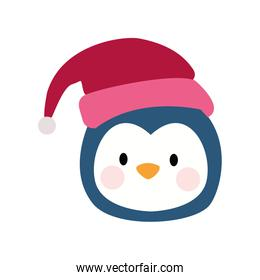cute penguin with christmas hat