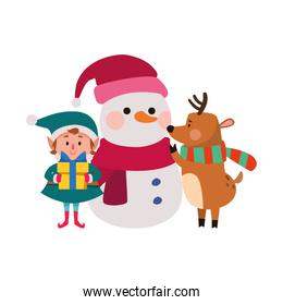 christmas elf and deer with snowman icon, flat design