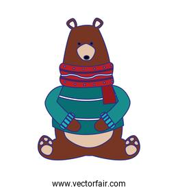 christmas grizzly bear with sweater and scarf icon