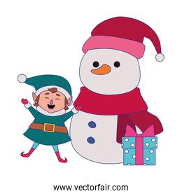 cartoon snowman and christmas elf with gift box