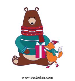 christmas grizzly bear and fox with gift box