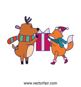 christmas fox and deer holding a gift box
