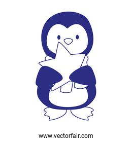 cute penguin with star icon, flat design