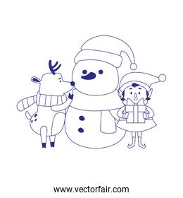 snowman with christmas elf and deer, line style icon