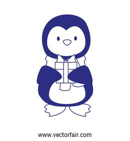 cute penguin with gift box icon