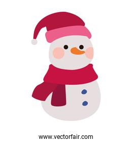 cartoon snowman with christmas hat icon