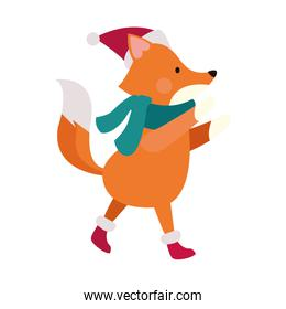 christmas fox with scarf and hat