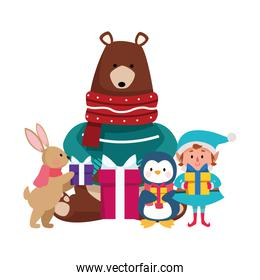 christmas grizzly bear with animals and elf with gift boxes