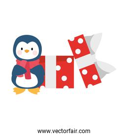 cute penguin with gift box icon, flat design