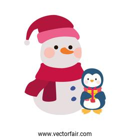 christmas snowman and penguin icon