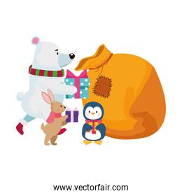 christmas animals putting the gifts in a bag, flat design
