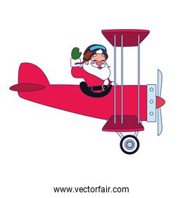 happy santa claus flying on airplane icon