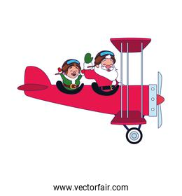 christmas elf and santa claus in a ariplane over white