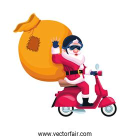 cartoon santa claus with big bag on a motorcycle, colorful design