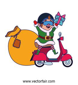 christmas elf on a motorcycle with the bag of gifts