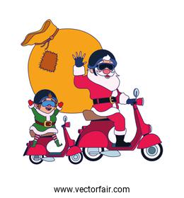 santa claus and christmas elf on a motorcycles with the bag of gifts