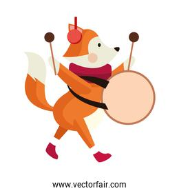 cute fox playing a drum icon