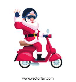 cool santa claus riding a motorcycle, flat design