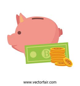 Isolated bitcoins and piggy icon vector design