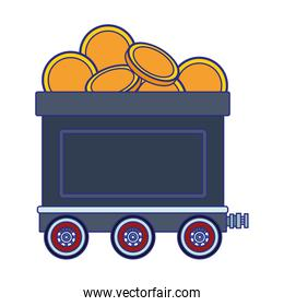 Isolated coins inside cart vector design