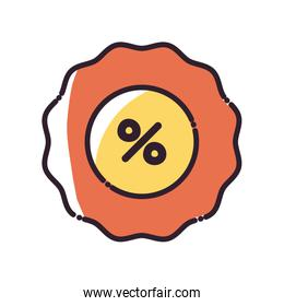 seal stamp with percentage fill style icon vector design