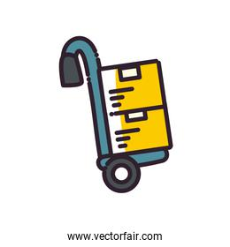 delivery boxes over cart fill style icon vector design