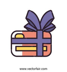 Isolated credit card with bowtie fill style icon vector design
