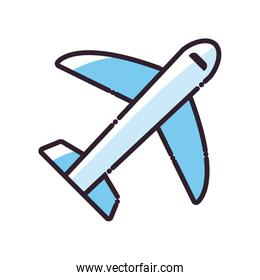 Isolated airplane fill style icon vector design