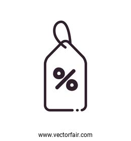 label with percentage line style icon vector design